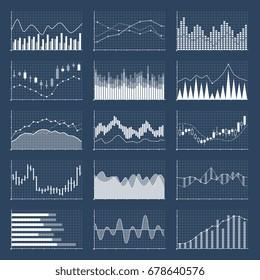 Graphiques à bougie financière. Ensemble d'images vectorielles d'affaires et de graphiques de marché. Illustration du diagramme de croissance des investissements financiers