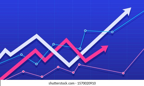 Financial chart with intertwining arrows going up. Vector illustration.