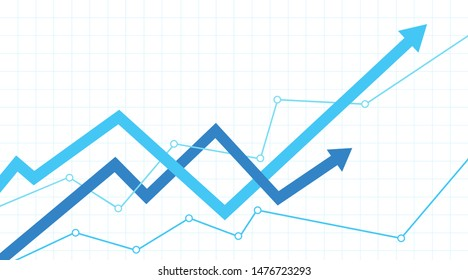 Financial chart with interweaving arrows going up on a white background