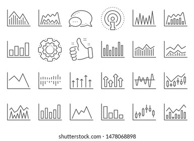 Financial chart line icons. Set of Candle stick graph, Report diagram and Infochart icons. Growth, Trade and Investment chart. Stock exchange, Candlestick and financial diagram graph. Vector