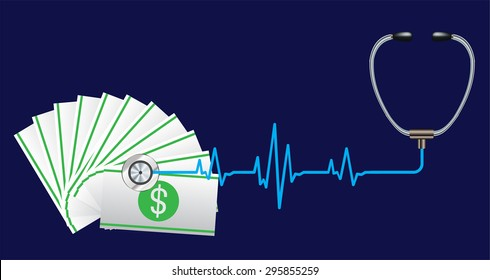 Financial Check Concept Vector Illustration. Stethoscope focusing the dollar sign money. Lawful money.