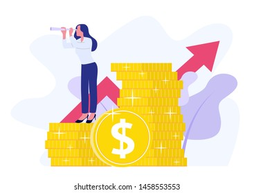 Financial consultant leaning on a stack of coins smiles friendly and waves with hand. Successful investor or entrepreneur.