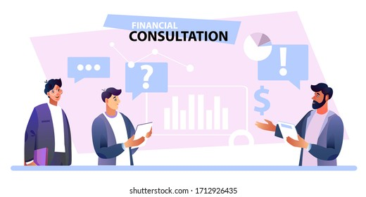Financial consultation banner with confident advisor and male clients. Online business banner with abstract graphs, icons, marketing expert. Problem solving illustration for web pages, advertisements