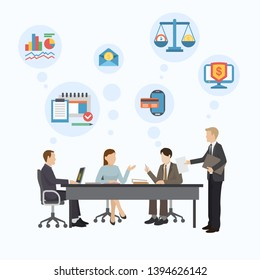 Financial consulting group poster, banner vector illustration. Business concept for team to analyze audit, finding solutions to financial tax, data in various fields. Teamwork.