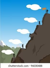 The financial crisis Concept. climbing on the mountain