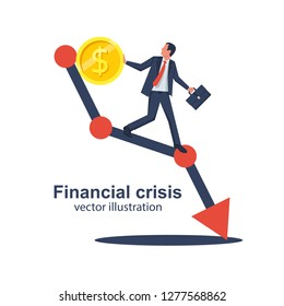 Financial crisis concept. Coin falls on schedule down. Economy problem collapse crash. Businessman on falling diagram. Loss income. Capital lost. Cost reduction. Declining chart. Down profit. Vector