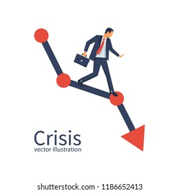 Financial crisis concept. Economy problem collapse crash. Businessman on falling diagram. Loss of income. Capital lost. Cost reduction. Vector illustration flat design. Declining chart. Down profit.