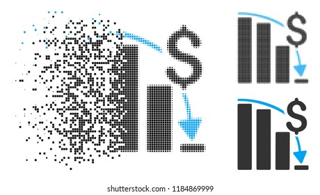 Financial crisis icon in fragmented, dotted halftone and whole versions. Cells are composed into vector disappearing financial crisis icon. Disappearing effect involves rectangular dots.