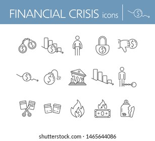 Financial crisis icons. Set of line icons on white background. Dollar bomb, debtor, bank collapse. Decline concept. Vector illustration can be used for topics like finance, banking, economics