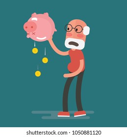 financial crisis - Senior Man with piggy bank, Pension