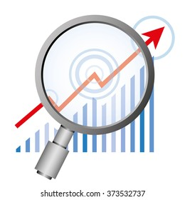 financial data analysis, magnifier glass and data graph