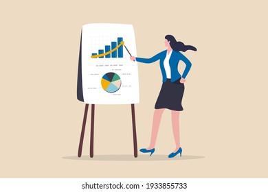 Rapport d'analyse des données financières, concept de recherche statistique ou économique, femme d'affaires présentant un graphique et un graphique à bord de la réunion.