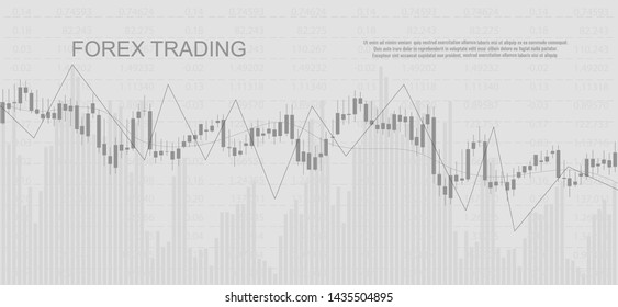 Diagramm Finanzdaten auf grauem Hintergrund. Geschäftlicher Hintergrund mit Kerzenschein für Berichte und Investitionen. Konzept des Finanzmarkthandels.