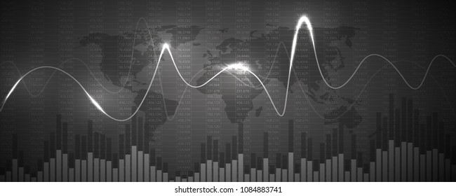 Financial data graph chart, vector illustration. Abstract background with graph chart finance. Business concept