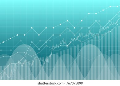 Financial data graph chart, vector illustration. Trend lines, columns, market economy information background. Chart analytics economic concept.