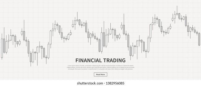 Financial diagram candlestick chart vector illustration. Candlestick trading graph creative concept. Financial chart graphic design.