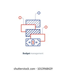 Financial diversification, finance investment, budget planning, investment portfolio, money consolidation concept, vector mono line icon
