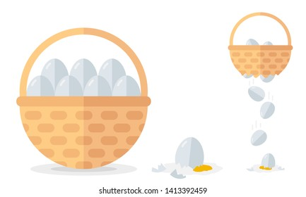 Financial diversification idea on basket with eggs example. Never put all eggs in one basket vector illustration.