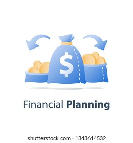 Financial diversification, split capital, divide asset, investment options, earn money, budget planning, savings account, vector icon