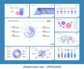 Financial doughnut, scatter and process charts. Business and management concept. Infographic design set can be used for workflow layout, diagram, annual report, presentation, web design.