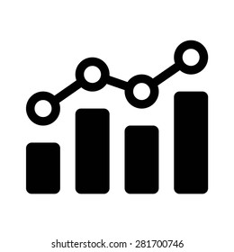 Financial earnings analytics graph or chart flat vector icon for finance apps and websites
