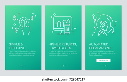 Financial and Fintech concept onboarding app screens. Modern and simplified vector illustration walkthrough screens template for mobile apps.