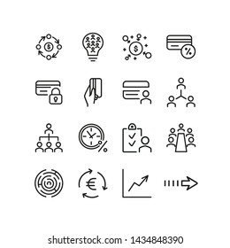 Financial flow icons. Set of line icons. Credit card payment, corporate structure, crowdsourcing. Finance concept. Vector illustration can be used for topics like finance, business, banking