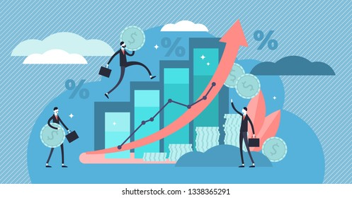 Financial forecast vector illustration. Flat tiny economical persons concept. Money growth prediction and progress report. Symbolic company sales improvement statistics calculation and measurement.