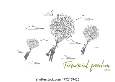 Financial freedom concept. Hand drawn businessmen flying with a lot of dollars. Money gives fill of freedom isolated vector illustration.