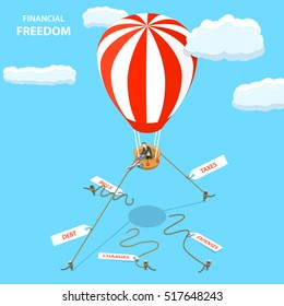 Financial freedom isometric flat vector concept. Man is cutting off the ropes with tags: taxes, debt, expense, charges, bills to fly away on his hot air balloon.