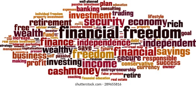 Financial freedom word cloud concept. Vector illustration