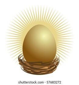 Financial golden nest egg concept.
