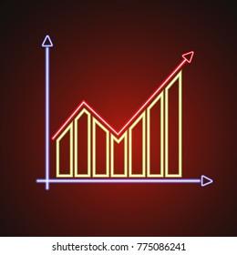 Financial graph stylized glowing neon illustration