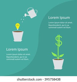 Financial growth concept. Business infographic template. Flower pot, light bulb idea, watering can, dollar tree plant. Flat design. Green background. Vector illustration.