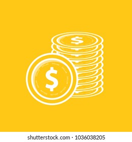 Financial growth concept with golden coin dollar. Dollar Gold coin Stack.