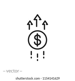 Financial growth icon, linear sign isolated on white background - editable vector illustration eps10