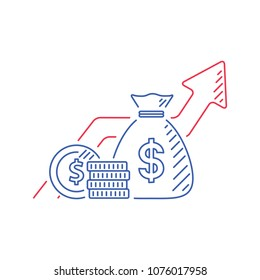 Financial growth, investment strategy plan, fund rising campaign, arrows and coin, vector mono line icon. Accounting report for income growth, statistic dashboard vector flat icon. Revenue capital