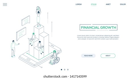 Financial growth - line design style isometric web banner with copy space for text. A businesswoman standing on the top of diagram sectors, holding a dollar coin, colleagues working with laptops