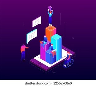 Financial growth - modern colorful isometric vector illustration on purple background. A businesswoman standing on the top of diagram sectors, holding a dollar coin, colleagues working with laptops