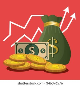 Financial growth up and money graphic design with icons, vector illustration