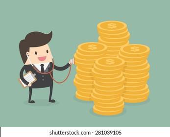 Financial health check. Businessman using stethoscope to check money health