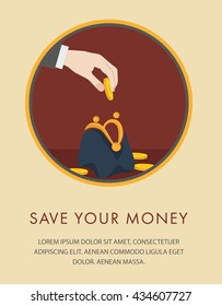 Financial  icon with hand putting a coin in a purse
