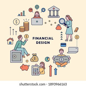 Financial icon set. Bank and money people icons are arranged in a circle.
