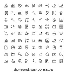 Financial icon set. Collection of high quality black outline logo for web site design and mobile apps. Vector illustration on a white background.