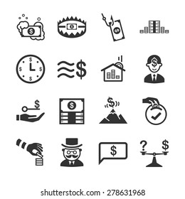Financial icon set. Included the icons as frauds, monopoly, millionaire, crisis, economy, phishing and more.