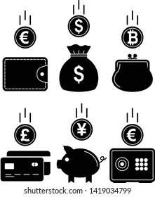 Financial icons, piggy bank, safe, purse, money bag, credit card, bank, currency symbols. Money accumulation concept. Vector illustration.