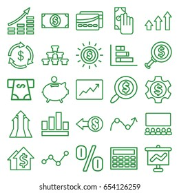 Financial icons set. set of 25 financial outline icons such as money, atm money withdraw, line graph, card, graph, piggy bank, search dollar, cash payment, coin, arrows up