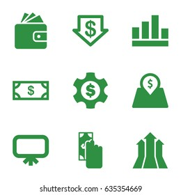 Financial icons set. set of 9 financial filled icons such as board, money, dollar down, wallet, lot price, arrows up, dollar gear, cash payment