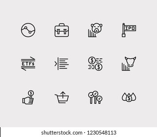 Financial icons set. Stock sector and financial icons with capitalization, bear market and bid-ask spread. Set of analysis for web app logo UI design.