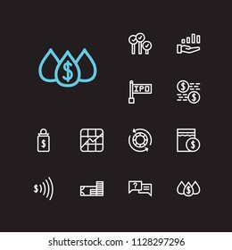 Financial icons set. Stock symbol and financial icons with dividend, liquidity and day order. Set of deposit for web app logo UI design.